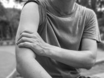 Shoulder injury in humans .arm muscle pain ,joint pains people medical, mono tone highlight at shoulder.  royalty free stock images