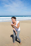 Shoulder injury on vacation Royalty Free Stock Photos