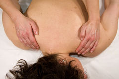 Shoulder muscle massage Stock Photos