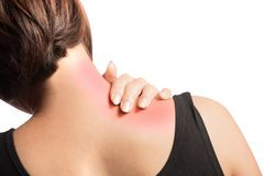 Shoulder muscle strain. Woman pain on right shoulder with inflammation skin stock photography