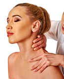 Shoulder and neck massage for woman in spa salon. Shoulder and neck massage for women in spa salon. Doctor making neck therapy in rehabilitation center stock photography