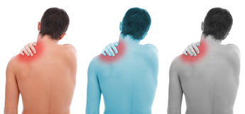 Shoulder pain. Young man having pain in his shoulder stock photography