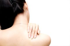 Shoulder Pain. Woman pain on her shoulder Stock Photography