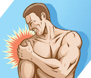 Shoulder pain. Drawing of a shoulder injury Stock Image