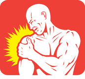 Shoulder pain Icon. Icon of a shoulder injury Stock Images