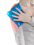 Shoulder Pain. Injury caused by sports accident. Medical health care concept Stock Photo