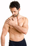 Shoulder Pain. Man athlete with pain in his shoulder Stock Images