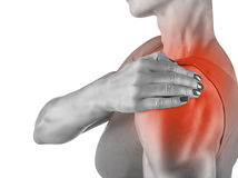 Shoulder pain. Woman massaging shoulder pain isolated on white background Royalty Free Stock Image