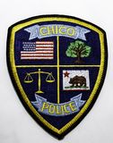 The shoulder patch of the Chico Police Department in California. USA on a white background stock photos
