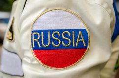 Shoulder patch Russia. On wear stock photo