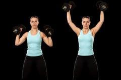 Shoulder Press. Exercise. Studio shot over black stock images
