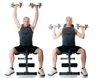 Shoulder Press. Exercise. Studio shot over white Stock Photography