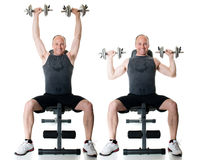 Shoulder Press. Exercise. Studio shot over white stock image