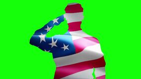 Shoulder silhouette of saluting army soldier USA or America flag seamless looping animation green screen