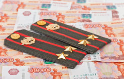 Shoulder strap of russian army and money Royalty Free Stock Image