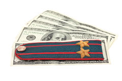 Shoulder strap of russian police and  money Stock Image