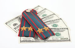 Shoulder strap of russian police and money Stock Photos