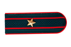 Shoulder strap of the Russian police officer. On a white background Royalty Free Stock Photography