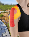 Shoulder therapy with tex tape Stock Photo