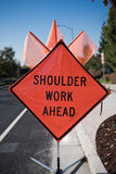 Shoulder Work Ahead Sign Stock Images