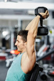Shoulder workout with dumbbell Royalty Free Stock Photos