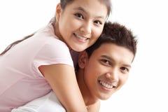 On shoulders of boyfriend Stock Photo