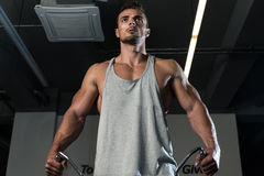 Shoulders Cable Lateral Raise Workout. Body Builder Workout On Cable Machine. Standing Low Pulley Deltoid Raise Royalty Free Stock Photos