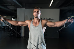 Shoulders Cable Lateral Raise Workout Royalty Free Stock Images