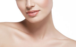 Shoulders neck lips Beautiful woman face close up portrait young studio on white Stock Photo