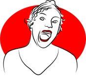 Shout. Woman shouting stock illustration
