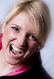 Shout. Young blond girl screaming very loudly Royalty Free Stock Photo