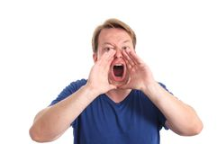 Shout. Man shouting at the top of his lungs - isolated on white and retouched Stock Image