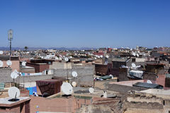 Shout of the Marrakesh's rooftop. Shout of the Marrakech's rooftop with many satellite television antennas Royalty Free Stock Photography