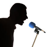 Shout in microphone Royalty Free Stock Photos