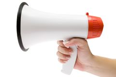 Shout It Out Loud. Holding a white megaphone. Isolated on a white background Royalty Free Stock Images