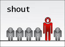 Shout out standing out of the crowd Stock Image