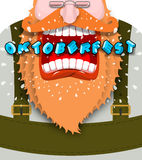 Shout Poster for Oktoberfest. Angry and aggressive man shouts. R Royalty Free Stock Images