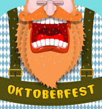 Shout Poster for Oktoberfest. Angry and aggressive man shouts. R Royalty Free Stock Image