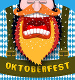Shout Poster for Oktoberfest. Angry and aggressive man shouts. R Stock Image