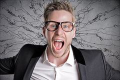 Shout. Stressed Man shout out everything Royalty Free Stock Photography