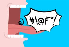 Shout swearing words in speech bubble. Cry Open mouth. Teeth and. Tongue. foul language Royalty Free Stock Photo