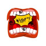 Shout swearing words in speech bubble. Cry Open mouth. Teeth and. Tongue. foul language Royalty Free Stock Photography