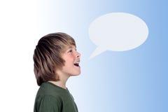Shouting adorável do menino do preteen Imagens de Stock Royalty Free