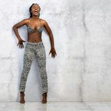 Shouting African Woman Against Concrete Wall. Royalty Free Stock Photos