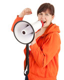 Shouting angry woman with megaphone Royalty Free Stock Photo