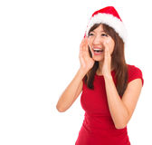 Shouting asiático da mulher de Santa Fotos de Stock