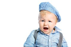 Shouting baby. Beautiful little boy. Shot in a studio. Isolated over white background Stock Photography