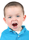 Shouting baby boy. Young shouting adorable baby boy against white background Stock Photography