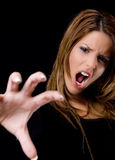 Shouting beautiful female showing hand gesture Stock Image