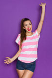 Shouting Beautiful Woman With Arms Outstretched Stock Photos